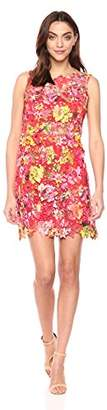 T Tahari Women's Lincoln Floral Printed Sleeveless Lace Dress