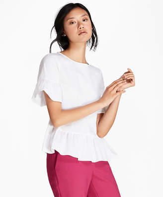 Brooks Brothers Ruffled Poplin Peplum Blouse