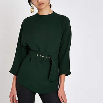 River Island Green belted kimono sleeve blouse