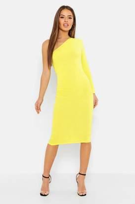 boohoo Petite Gathered Detail One Shoulder Midi Dress