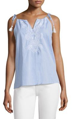 Vineyard Vines Shell Floral Embroidered Tassel Top $78 thestylecure.com
