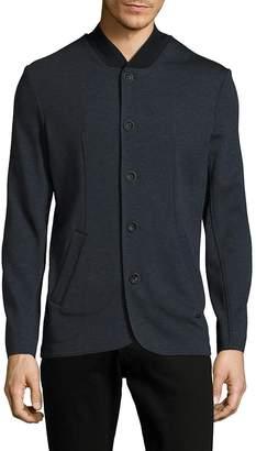 Armani Collezioni Men's Solid Textured Jacket - Blue, Size x-large