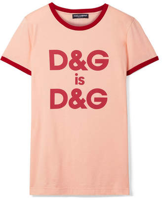 8a3a0439141f98 Dolce & Gabbana Printed Cotton-jersey T-shirt - Blush