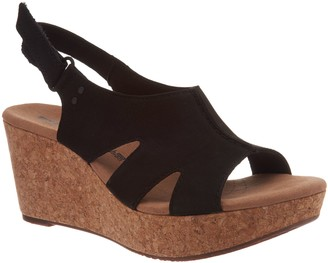 a73c24d99fa Clarks Leather Cork Wedge Adjustable Sandals - Annadel Bari
