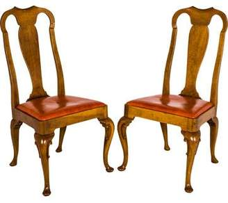 Baker Pair of Leather Upholstered Side Chairs
