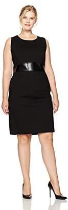 Kasper Women's Plus Size Ponte Sheath Dress with Faux Leather Detailing