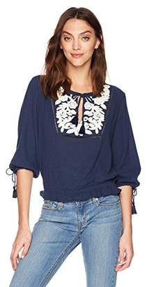 Lucky Brand Women's Embroidered Tassle TOP