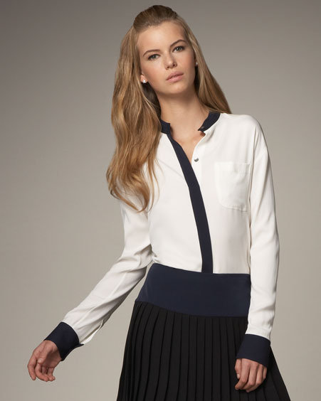 Theory Contrast-Trim Button Blouse