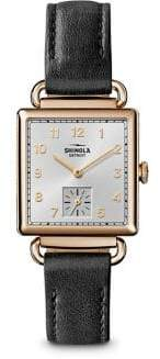 Shinola The Cass PVD Goldtone Stainless Steel& Double-Wrap Leather Strap Watch