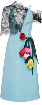 Prada Lace-Paneled Appliquéd Gabardine Dress Size: 40