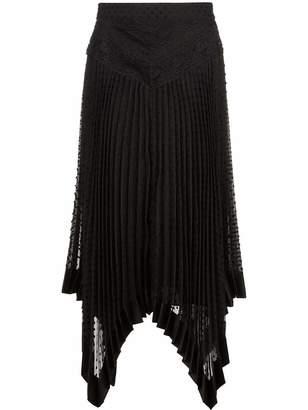Zimmermann Espionage High Waisted Asymmetric Midi Skirt