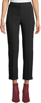 Veronica Beard Irving Straight-Leg Snap High-Waist Pants