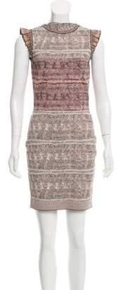 Alexander McQueen Ruffled Bodycon Dress Pink Ruffled Bodycon Dress