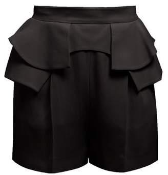 Alexander McQueen Peplum Waist Crepe Shorts - Womens - Black