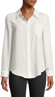Nanette Lepore Nanette Button-Front Long-Sleeve Blouse w/ Chest Pocket