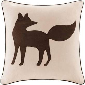 Home Essence Fox Embroidered Suede Square Pillow