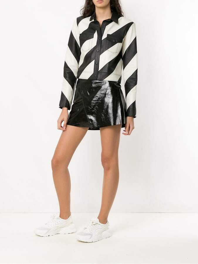 Nk Collection striped leather jacket
