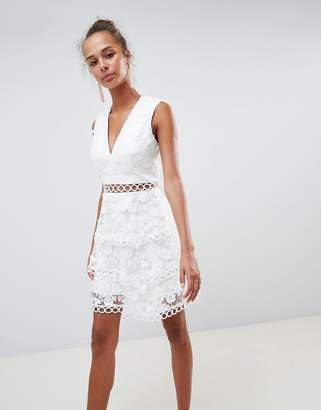 Asos DESIGN Mini Dress In Floral Embroidered Broderie