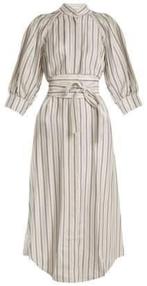Zimmermann Painted Heart Striped Satin Twill Shirtdress - Womens - Grey Multi