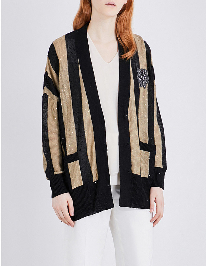 Brunello Cucinelli Sequin-embellished linen and silk-blend cardigan