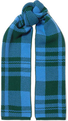 Markus Lupfer Checked Wool-jacquard Scarf - Blue
