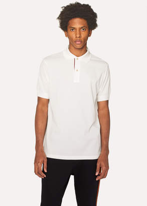 Paul Smith Men's Slim-Fit White Cotton-Pique Polo Shirt With 'Artist Stripe' Placket