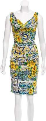 Dolce & Gabbana Silk Majolica Print Dress w/ Tags