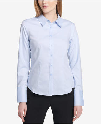 Calvin Klein Petite Cotton Button-Front Shirt