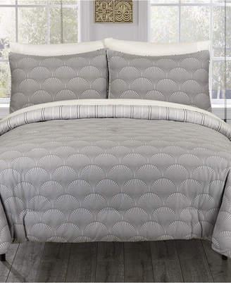 Ron Chereskin Modern Fanfair Gray King Duvet Set Bedding