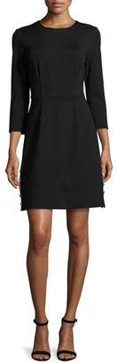 Trina Turk 3/4-Sleeve Ponte A-Line Dress, Black $298 thestylecure.com