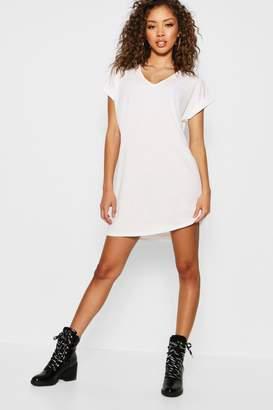 boohoo Ribbed V Neck Oversized T-Shirt Dress