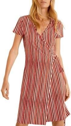 MANGO Striped Bow Wrap Dress