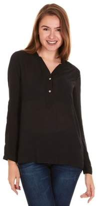 Brio LADIES WEAR Women's Collared Button down long sleeve top (Black/Multi color, 2X-Large)