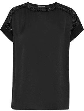 By Malene Birger Raimila Sequin-embellished Satin-crepe Top