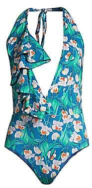 PatBO Women's Floral Ruffle Deep-V One-Piece Swimsuit