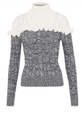 Raoul Ruffled Two-Tone Cotton Turtleneck Sweater