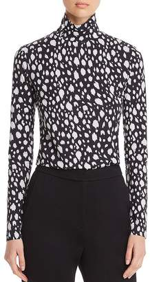 St. John Fitted Abstract Leopard-Print Turtleneck