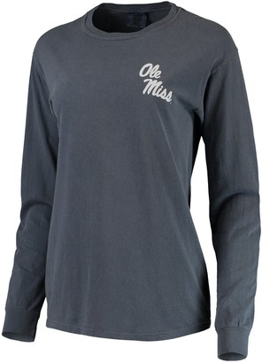Unbranded Women's Navy Ole Miss Rebels Comfort Colors Campus Skyline Long Sleeve Oversized T-Shirt