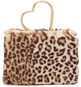 Shrimps - Nancy Leopard Print Faux Fur Bag - Womens - Leopard