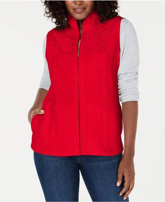 Karen Scott Cable-Pattern Quilted Vest
