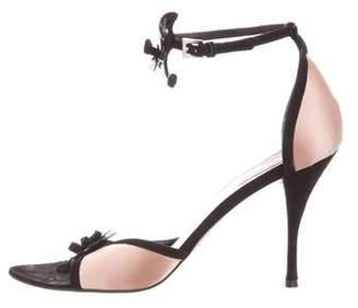 Prada Floral Suede Sandals