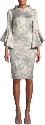 Funnel-Neck Flutter-Sleeve Floral-Jacquard Cocktail Dress