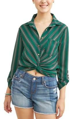 Self Esteem Juniors' Printed Button Twist Front Long Sleeve Blouse