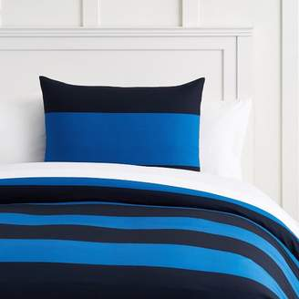 Pottery Barn Teen Bold Rugby Stripe Duvet Cover, Full/Queen, Navy/Strong Blue