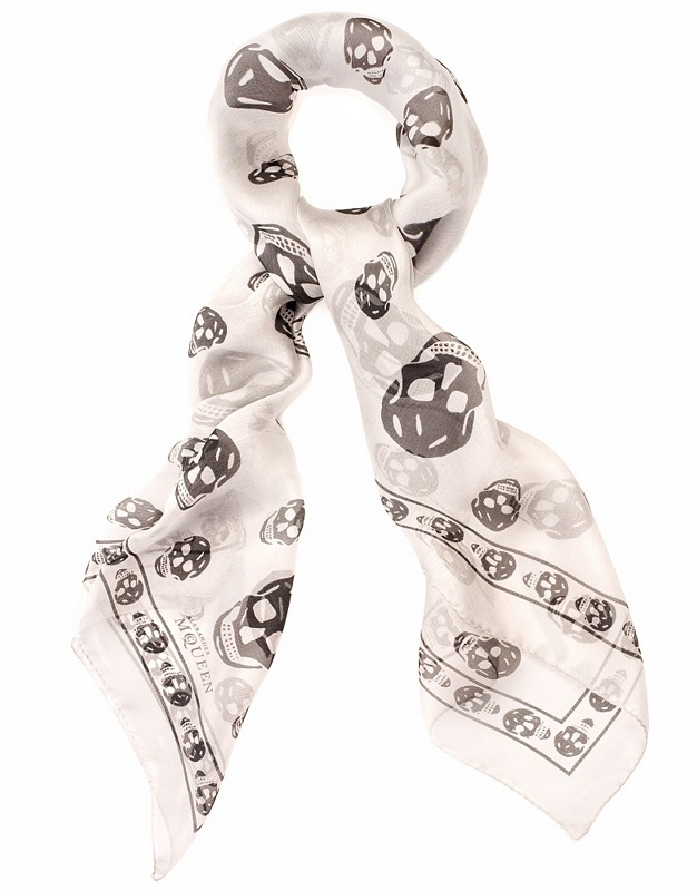 Light Grey/black Skull Scarf