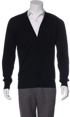 Maison Margiela Wool-Blend Leather-Trimmed Cardigan