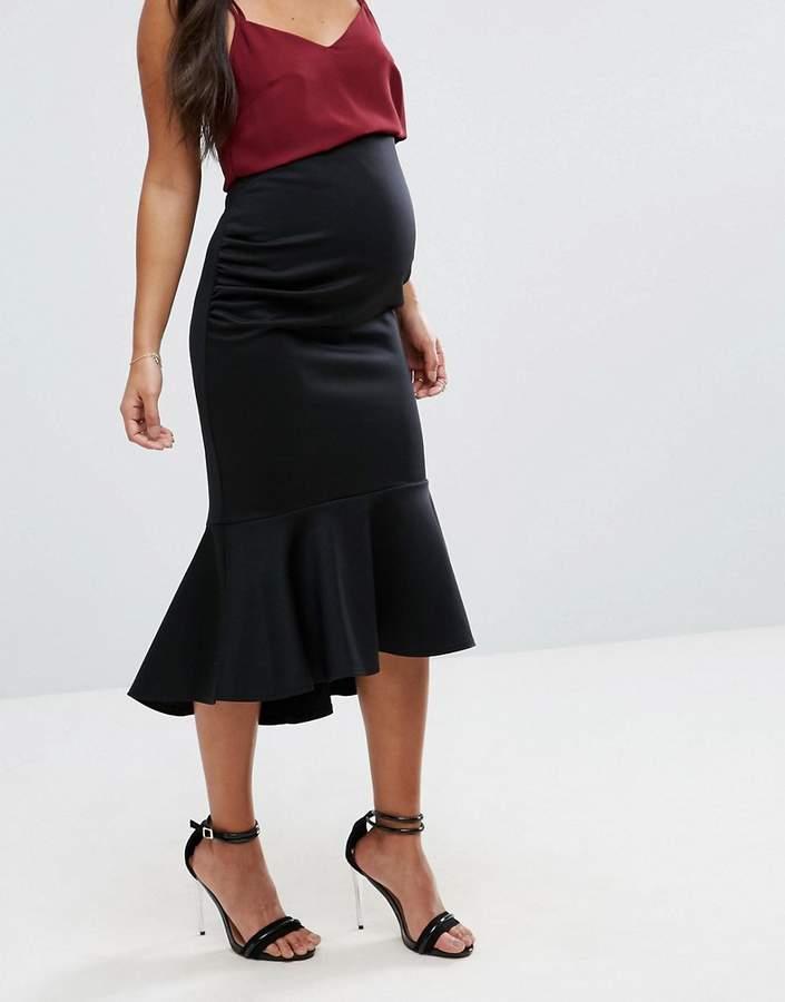 Asos Over The Bump Peplum Hem Bodycon Midi Skirt