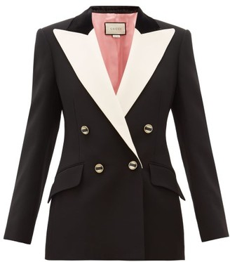 Gucci Peak Lapel Double Breasted Silk Blend Blazer - Womens - Black White