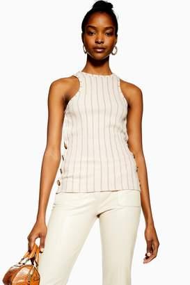 Topshop Stripe Knit Side Button Vest