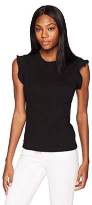 Three Dots Women's Heritage Knit Ruffle Tight Short Shirt